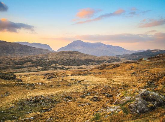 Killarney mountains at sunset