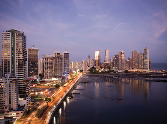 Panama City skyline atdusk