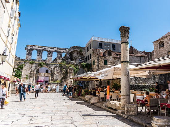 Street and Ancient Ruins in Split