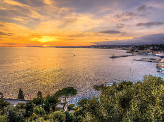 Aerial View Of Beach In Nice At Sunset