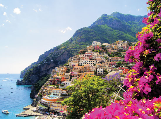 View of Positano with Flowers